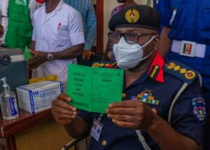 Officers of NSCDC take COVID-19 vaccine